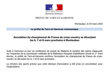 Championnats de France de Cross-Country 7, 8 mars 2020 : Annulation